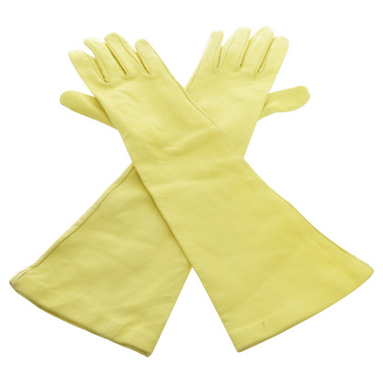 Marc Cain Long leather gloves in yellow