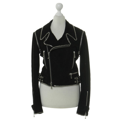 Philipp Plein Leather jacket with chain detail