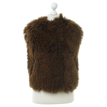 Dolce & Gabbana Gilet di pelliccia di agnello in marrone