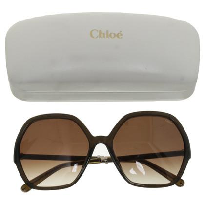 Chloé Vierkante zonnebril in olijfolie