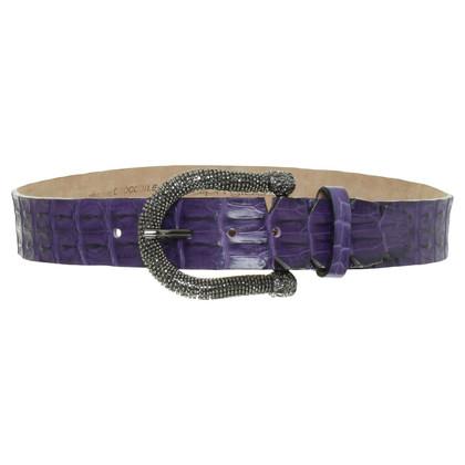 Ralph Gladen Purple crocodile leather belt