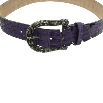Ralph Gladen Purple crocodile leather belt