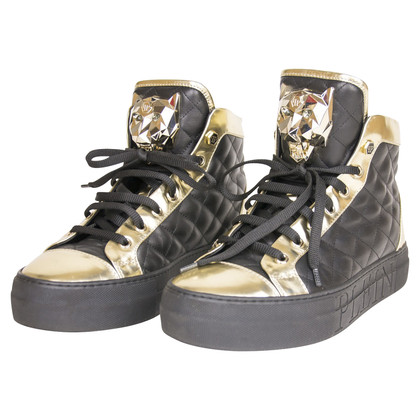 Philipp Plein Baskets en noir et or