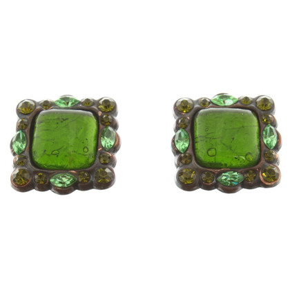 Yves Saint Laurent Earclips with green gemstones