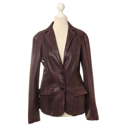 Giorgio Brato Leather Blazer in Eggplant