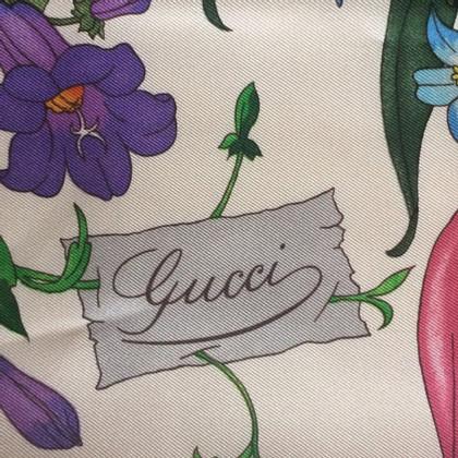 Gucci Flora sjaal met print in wit / magenta