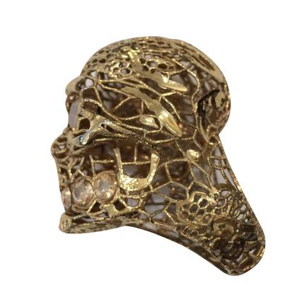 McQ Alexander McQueen Ring with skull and crossbones motif