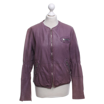 St. Emile Lavender leather jacket in used look