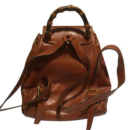 Gucci Brauner Vintage Leder-Rucksack