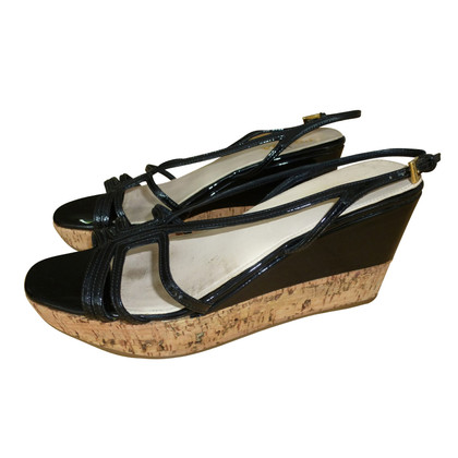 Prada Plateau wedges with black patent leather
