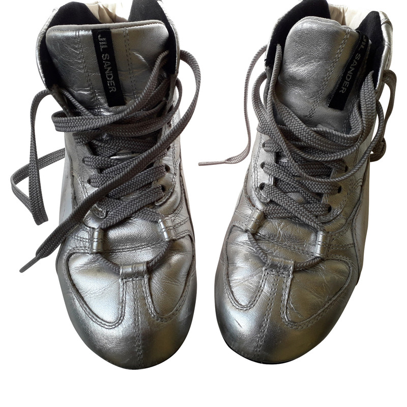 Jil Sander Trainers Leather in Silvery