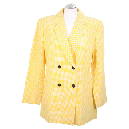 René Lezard Checkered blazer in yellow