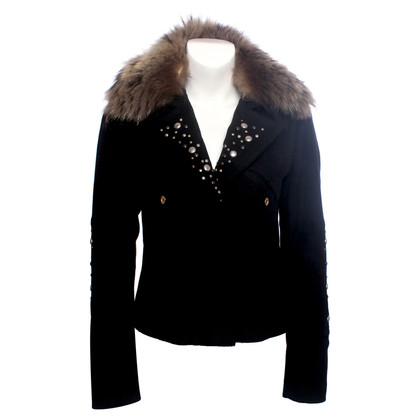 Pinko black wool biker jacket with studs