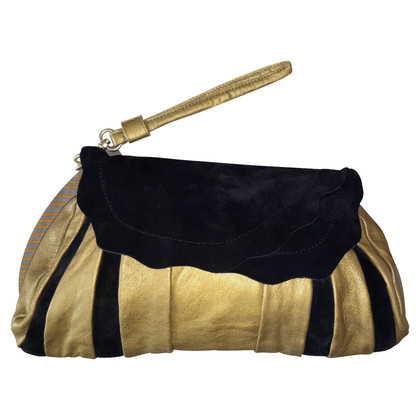 See by Chloé Black suede and gold leather clutch bag