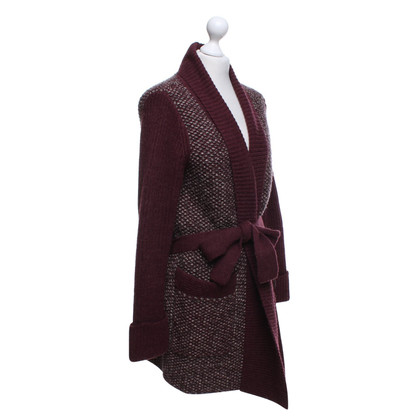 Antik Batik Long knitted coat in wine red