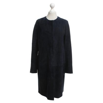 Max Mara Leren jas in donkerblauw