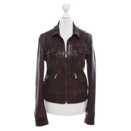 D&G Giacca in pelle marrone scuro