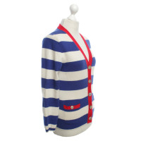 White T Cashmere sweater with striped pattern