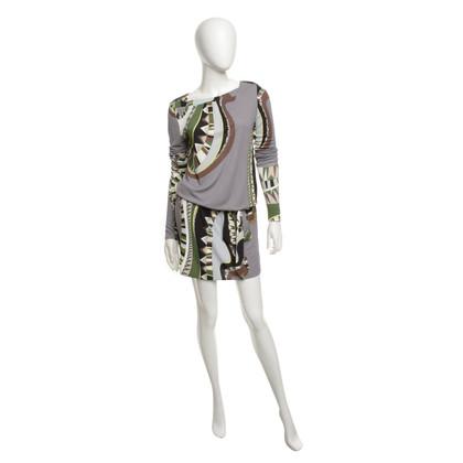 Emilio Pucci Gedessineerde jurk in grijs / bruin / groen