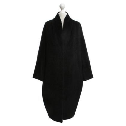 Max Mara Shiny woolen coat in black