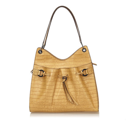 Lancel Embossed Leren Shoulder tas