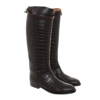 Hermès Stiefel aus Krokoleder