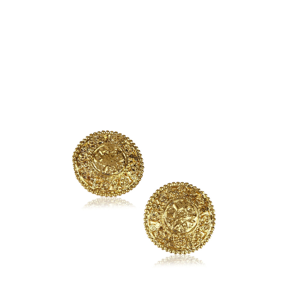 Chanel Engraved Gold-Tone Clip-On Earrings