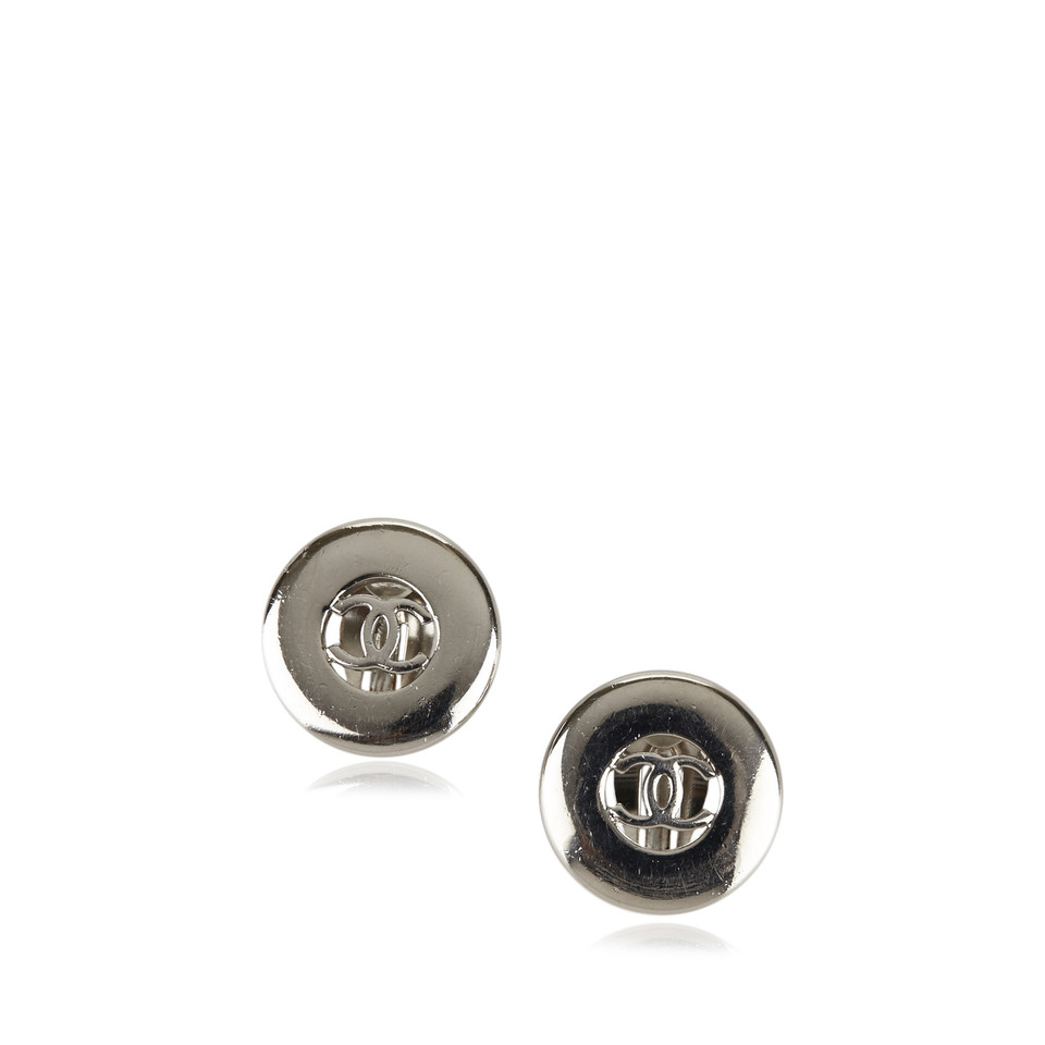 Chanel Silver-Tone CC Clip-On Earrings