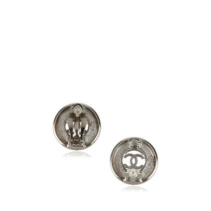 Chanel Silver-Tone CC Clip-On Earrings