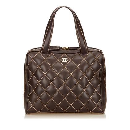 Chanel Lambskin Leather Surpique Handle Bag