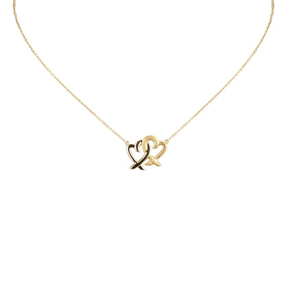 Tiffany & Co. 18K Double Loving Heart Pendant Necklace