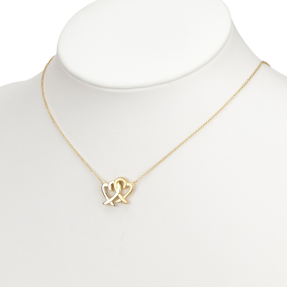 Tiffany & Co. 18K Double Loving Heart Pendant Necklace