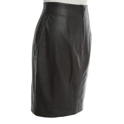 Marc Cain Leather skirt in dark brown