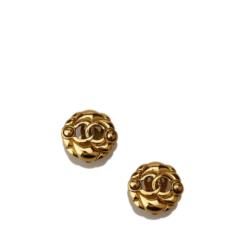 Chanel Gold-Tone CC Clip-On Earrings