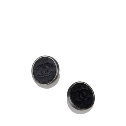 Chanel Leder CC Clip-On Ohrringe