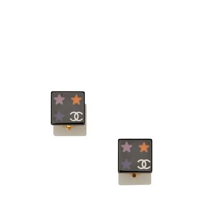 Chanel Enamel CC Clip-On Earrings