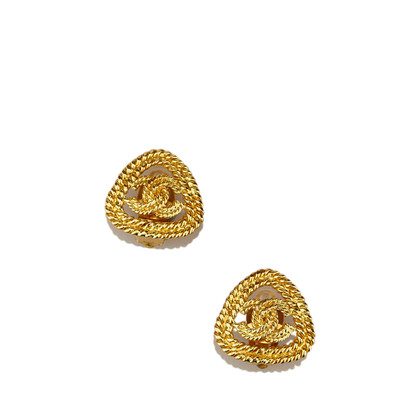 Chanel Gold-Tone CC Clip-On Ohrringe