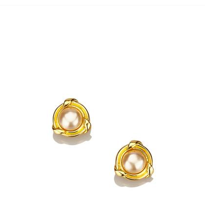 Chanel Faux Pearl Gold-Tone Clip-On Earrings