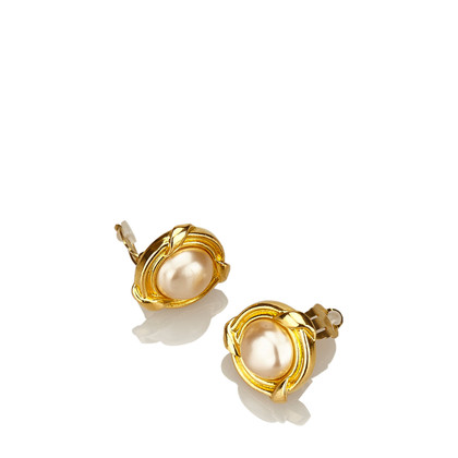 Chanel Faux Perle Gold-Tone Clip-On Ohrringe