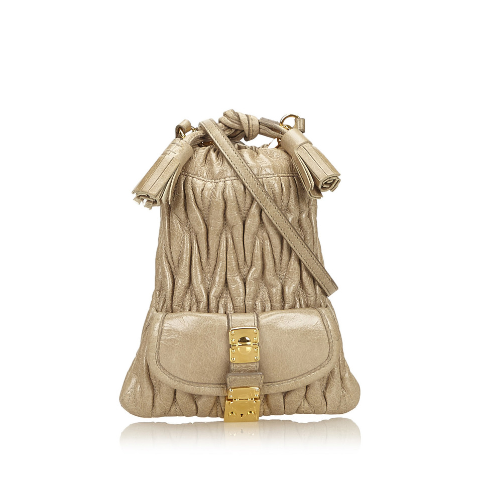 Miu Miu Leather Gathered Shoulder Bag