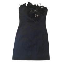 Badgley Mischka Schwarzes Minikleid mit Federn