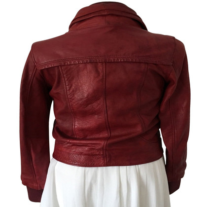 Oakwood Veste en cuir rouge