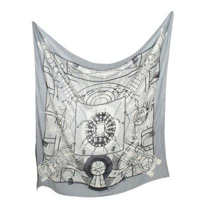 Hermès Doek in Grijs / wit