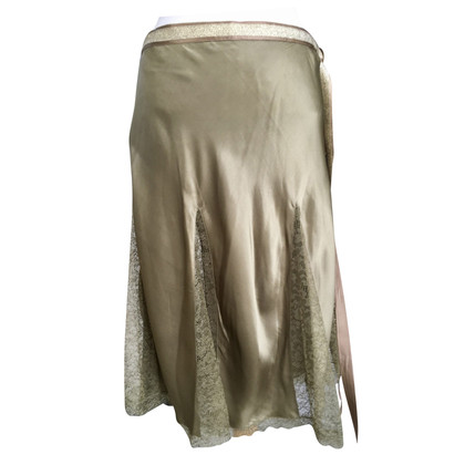 Blumarine Silk skirt with lace