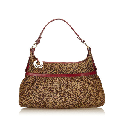 Fendi Leopard Print Pony Hair Shoulder tas