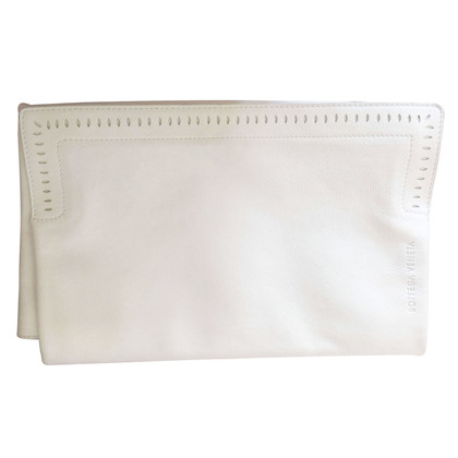 Bottega Veneta Lederclutch in bianco