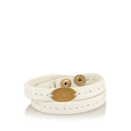 Fendi Leder Selleria Double Wrap Armband