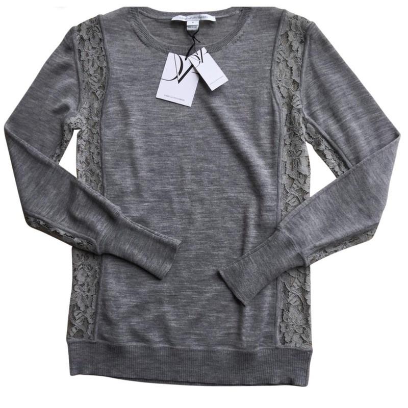 Diane von Furstenberg Knit top with lace