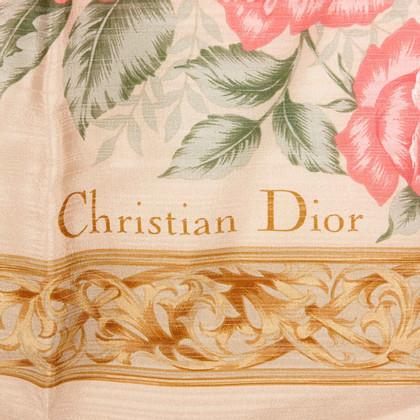 Christian Dior Bloemendruk Zijde Sjaal