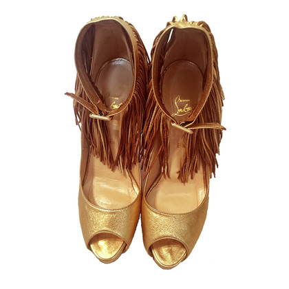 Christian Louboutin Peeptoes with fringes